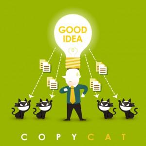 flat design vector illustration concept of copycat