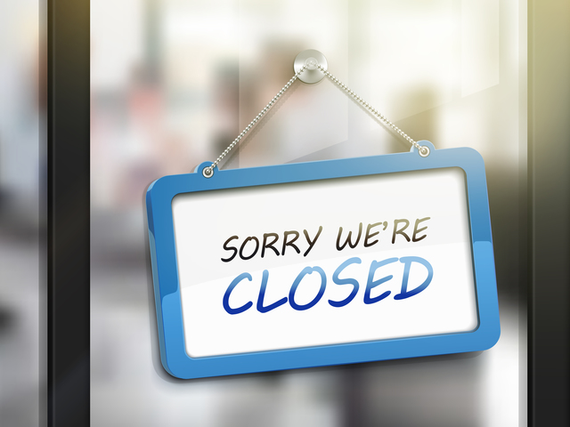 sorry we are closed hanging sign, 3D illustration isolated on office glass door