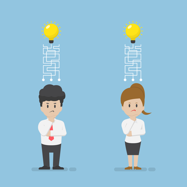 Businessman and Businesswoman are Confused and Lost Their Idea, Idea Concept